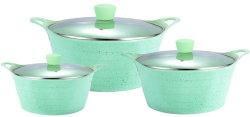 [هيغقوليتي] ألومنيوم حوض طبيعيّ [نونستيك] مع مزدوجة آذان منزل [كوكور] رخام طلية حساء حوض طبيعيّ مطبخ يطبخ طنجرة مجموعة