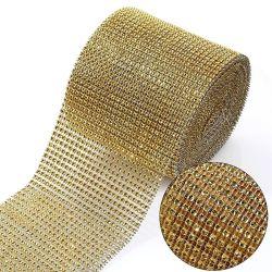 24 صفًا، 4 مم، 10 ياردات/لف حجر الراين، شذب شبكي، على أحجار الراين ذهبية ذهبية ذهبية ذهبية ذهبية ذهبية ذهبية في قاعدة وزخارف حزب كعكة الشريط