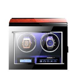 Schwarze lederne Rolex-automatische Uhr-automatischer Winde-Kasten blaue LED