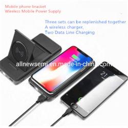 Telefone celular digital personalizado carregando a dobragem fonte de alimentação móvel de carregamento sem fio 6000mAh banco de Potência
