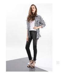 De hoge Broeken van de Jeans van de Vrouwen van de Broek van de Jeans van de Magere Rek van de Manier van de Taille Zwarte