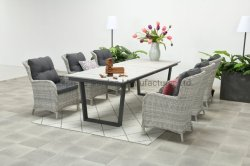 يتعشّى مجموعة على عمليّة بيع خارجيّة حديثة بينيّة كرسي تثبيت حديقة يأكل طاولة [ل265كم] مع [رتّن] [ويكر] فناء فندق أثاث لازم مجموعة