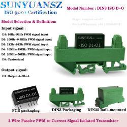 حلقة تركيب القضبان DIN3 تعمل 100 هرتز-0.9 كيلو هرتز PWM SINA Input إلى 4-20 مللي أمبير محول الإخراج