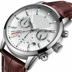 공장 호화스러운 주문 남자 시계 남자를 위한 실제적인 브라운 이탈리아 진짜 가죽 시계