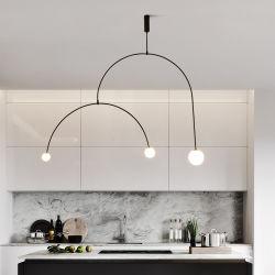 북유럽 형식 유리제 거는 램프 현대 철 천장 펜던트 빛