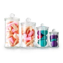 Commerce de gros mini rond de 150 ml à col large apothicaire de stockage de pot de verre décoratif avec couvercle