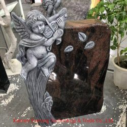 Natürliche Indien-schwarze Granit-Hand, die Engels-Denkmal-Finanzanzeige-Grundstein schnitzt