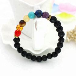 L'equilibrio curativo naturale del braccialetto in rilievo borda il braccialetto curativo del diffusore di Chakra della pietra 7 della lava di energia di Valconic di yoga