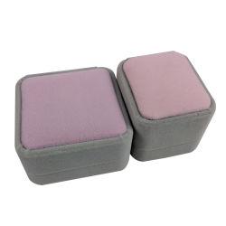 Topo-de-rosa de veludo Cinzento Caixa de jóias para a exibição do conjunto de jóias