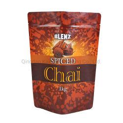 Sacchetti a chiusura lampo Spiced del commestibile del Chai 1kg della bustina di tè del cotone che si levano in piedi in su sacchetto