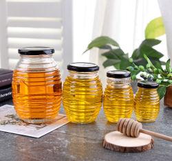 Vider le pot à miel en verre avec couvercle en métal noir Ustensiles de cuisine Canning en verre