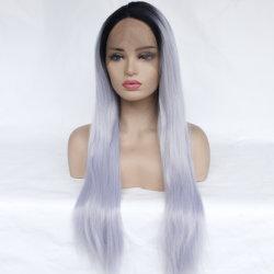Brillantes colores plata 14pulgadas~26pulgadas sintético resistente al calor de encaje frontal pelucas
