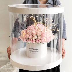 La Saint Valentin taille énorme le type de fenêtre ronde Boîte cadeau de fleur en PVC, la main Fine Fleur Afficher boîte pliable pour le magasin de fleurs