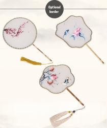 Manche en bois Décoration de luxe en soie naturelle du ventilateur à la main double fleur de broderie chinois pour les femmes du ventilateur de cadeau de mariage le ventilateur