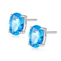 Steen 925 van de Topaas van de Vorm van de luxe Ovale Blauwe de Echte Zilveren Juwelen van de Oorringen van de Nagel