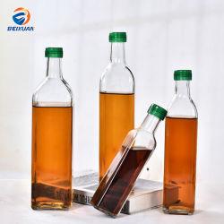 250ml 500ml 750ml 1000ml Square Azeite Garrafa de óleo de palma do frasco de vidro transparente