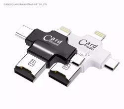 Tipo C & Micro USB y USB OTG 3 en 1 Lector de tarjetas universal USB 2.0 de alta velocidad OTG TF/SD para Android iPhone ordenador