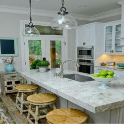La pierre naturelle Comptoir de cuisine en granit blanc de la rivière La Salle de bains vanité