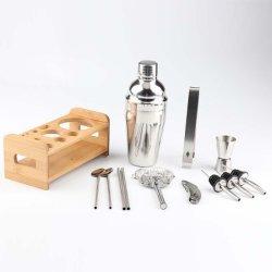 Kit bartender Bar 750ml Mixology e o agitador Cocktail de aço inoxidável com bambu elegante base de suporte em madeira