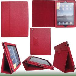 حقيبة حامل جلدية رائعة باللون الأحمر لجهاز iPad 2 (HFLC-02-7)