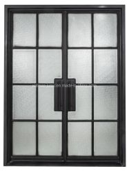 Windowsの内部の控えめな二重鋼鉄フランスエントリガラスドア