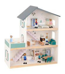 Brinquedos para crianças Dollhouse de madeira com mobiliário para crianças