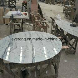 Полированный природного камня белого мрамора круглый обеденный стол для оптовых