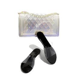 2020 оптовой продажей верхней части тапочки новых рейсов совпадающих обувь и сумки Босоножки для женщин желе кошельки со слайдами