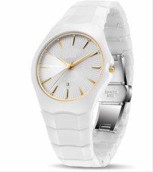 Het Witte Ceramische Horloge van uitstekende kwaliteit van het Kwarts van de Datum van de Manier van het Horloge van Mensen Auto Analoge met Polshorloges van de Mensen van de Luxe van het Merk van de Doos de Hoogste