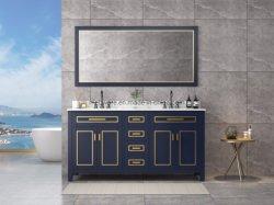 Moda de 72 polegadas montado no chão lavatórios duplos para casa de banho, espelho emoldurado, mármore Top, quatro portas e gavetas físico ocupado