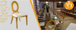 Metallo rotondo dorato dell'oro della sposa di cerimonia nuziale della parte posteriore del foro del blocco per grafici d'acciaio della mobilia di lusso di banchetto che pranza le presidenze