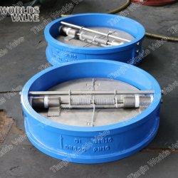 Dubbele deur terugslagkleppen terugslagventiel dubbele plaat wafer PN10 PN16 gietijzeren behuizing