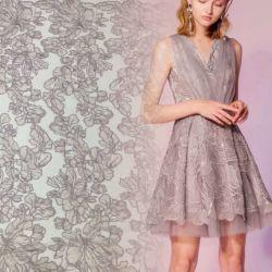 Flor de encaje bordado con lentejuelas de fiesta y vestido de novia puede mostrar efecto Glitter