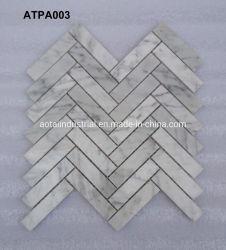 Pedra Natual Carrara Polidos Espinha de mosaico em mármore branco