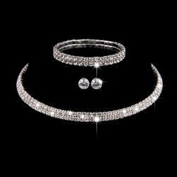 Rhinestone-Hochzeits-Halsketten-Ohrring-Armband-Kreis-Kristallbrautschmucksache-Sets