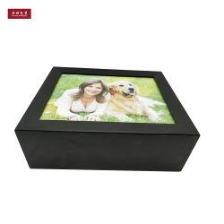 Album photo en bois noir mat un emballage cadeau Box