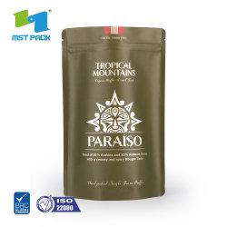 주문 로고 인쇄는 벨브와 Ziplock를 가진 박판으로 만들어진 브라운 식품 포장 생물 분해성 1회분의 커피 봉지 종이 Kraft를 위로 서 있다