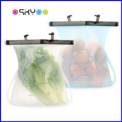 Grau alimentício reutilizáveis de silicone Junta Versátil Saco de preservação de armazenamento de alimentos