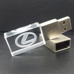 Logo personnalisé de haute qualité Crystal USB avec vert/blanc/bleu/rouge la mémoire flash de lumière luxe lecteur Flash USB 4 Go-32GO