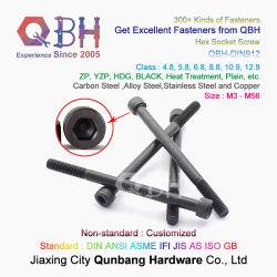 QBH DIN912 tapón de cabeza hexagonal hexagonal interior de cabeza hexagonal lleno Tornillo Allen de fijación de acero al carbono piezas de repuesto negro semicroscado