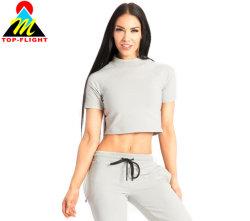 여자 요가 작물 상단 형식 운동복 작물 t-셔츠 도매를 인쇄하는 적당한 주문 로고를 체중을 줄이십시오