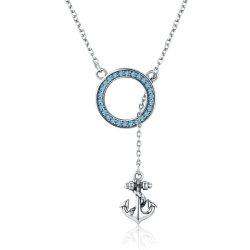 Thème de l'océan Collier avec pendentif d'ancrage 925 Sterling Bijoux slivoïde