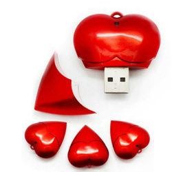 محرك أقراص USB Flash Drive ذو القلب الأحمر مع شعار مجاني