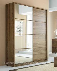 Mobiliario de casa de Moda 2 Espejo Las puertas correderas de madera MDF Dormitorio armario ropero (HF-H5E7UI)
