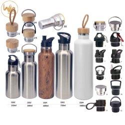 Isolados de aço inoxidável garrafa de água em aço inoxidável com tampa de bambu