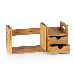대나무 데스크톱 책꽂이 카운터 탑 책꽂이 2개로 조절 가능, 책상 보관함 창구이창 사무실 용품, 주방, 욕실용 선반 랙