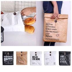 Commerce de gros Hot Sale réutilisables DuPont thermique isolé durables Kraft papier brun imperméable Tyvek Refroidisseur d'étanchéité de Roll up sac à lunch isotherme