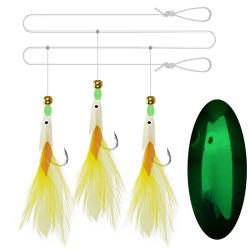 Gancho 3 cabeça de Peixe Sabiki Pesca Rig com Feather
