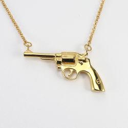 Poignée de commande des armes à feu Dainty personnalisé 18K 925 sterling plaqué or Bijoux en argent Collier bijoux de mode
