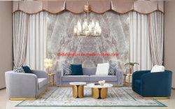 현대적인 디자인의 거실, 그레이 컬러 벨벳 직물 소파 세트 호텔 로비로